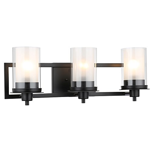 Designers Impressions Juno Matte Black 3 Light Wall Sconce / Bathroom Fixture with Clear and Frosted Glass: (Juno Black Finish)