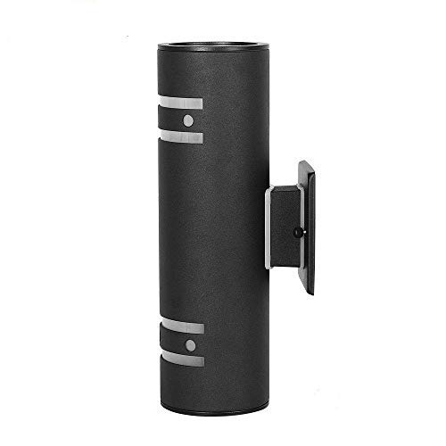 Outdoor Modern Wall Sconce by Cool Care - Exterior Lighting and Contemporary Housing Décor - Waterproof Stainless Steel Flush Mount Cylinder Design - Up Down Light Fixture for Backyard, Patio (Black)