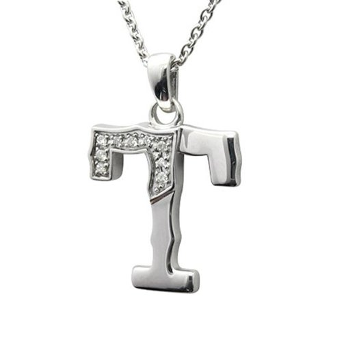 Men's Sterling Silver Alphabet Initial Letter T White Diamond Pendant Necklace (0.06 Carat) - IGI Cert 0.06 Ct Initial Pendant