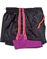 Nike PRO Women's DRI-FIT Double-UP; Black-Purple Short small