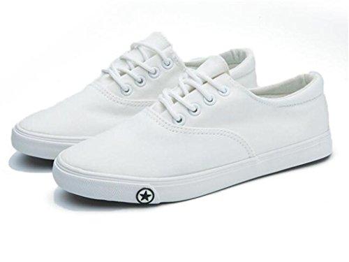 XIE Zapatos de Mujer Zapatos de Lona de Fondo Plano Movimiento de Verano Cómodo Correa de Ocio Estudiantes Diario Negro Blanco, White, 38 WHITE-37