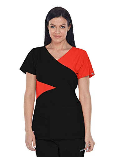 Grey's Anatomy Signature 2140 Contrast Mock Wrap Top Black/Red Orchid M