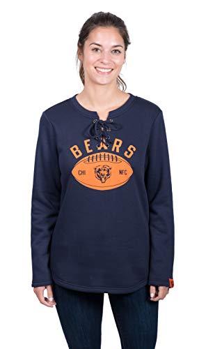 Icer Brands NFL Chicago Bears Women's Fleece Sweatshirt Lace Long Sleeve Shirt, Navy, Large