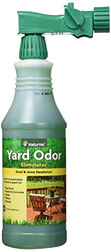 NaturVet - Yard Odor Eliminator - Eliminate Stool and Urine Odors from Lawn and Yard - Designed for Use on Grass, Plants, Patios, Gravel, Concrete & More - 31.6 oz Ready-to-Use with Nozzle (Best Way To Get Rid Of Pee Smell)