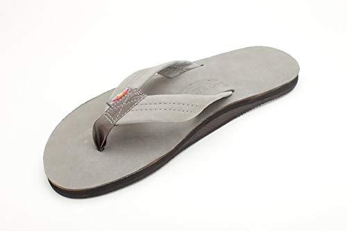 - Rainbow Sandals Men's Premier Leather Single Layer Wide Strap with Arch, Grey, Men's X-Large / 11-12 D(M) US