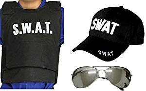 [Boys Mens 3 pc SWAT Vest Glasses & Baseball Cap Set Police Fancy Dress Costume] (Swat Vest Costume)