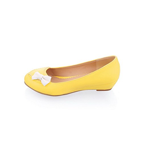 Yellow Assorted Frosted Toe Shoes Low Women's Pumps Round Heels WeiPoot Closed Color 40 HfwPqn5g