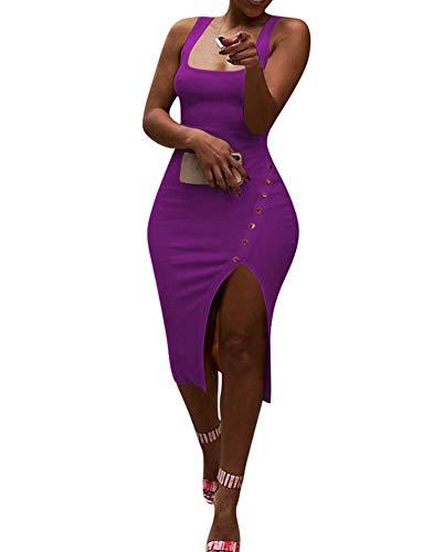 Salimdy Womens Sexy Soild Sleeveless Strap Tank Ribbed Buttons Side Split Bodycon Irregular Long Pencil Midi Dress Purple S