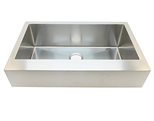 Auric Sinks 33 Retrofit Farmhouse 6 Short Apron, Flat Front Single Bowl Sink, 16 Gauge Stainless Steel, Sink Only
