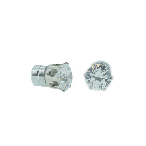 Pack of 12 Pairs Cubic Zirconia Crystal Magnetic Stud Earrings Mix Size Color