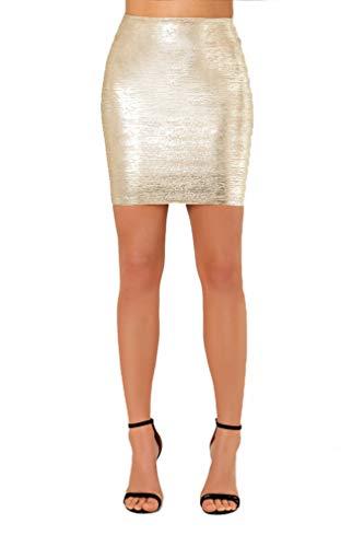 Wow Couture Womens Basic Bandage High Waist Mini Skirt