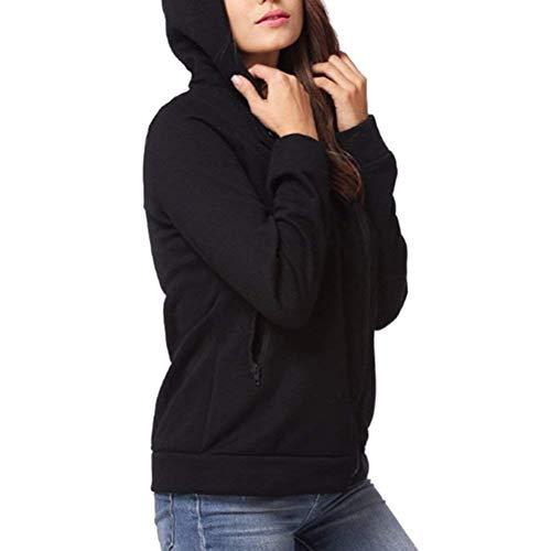 Hoody Monocromo Outerwear Lunga Con Moda Invernali Felpe Women Autunno Giovane Eleganti 1 Cappuccio Schwarz Cerniera Manica Sweatshirts Casual Giacca Donna xRwYqYf6