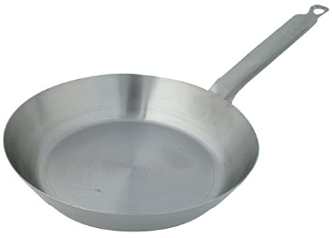 """Winco CSFP-12 Polished Carbon Steel 12-5//8/"""" French Style Fry Pan"""