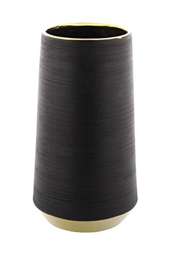 - Deco 79 74689 Black Cylindrical Ceramic Vase with Gold Accents, 11