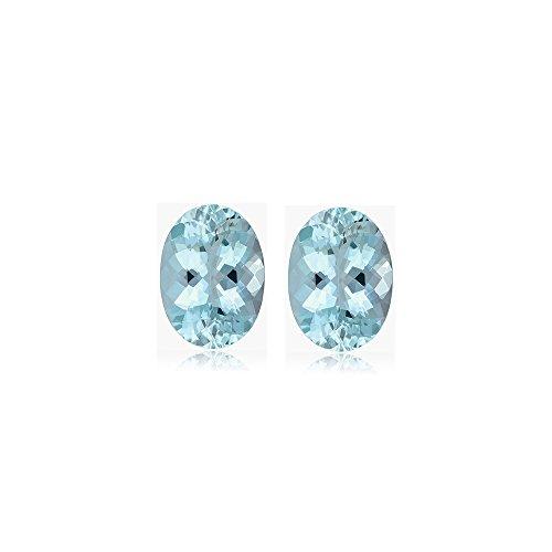 Mysticdrop 1.08-1.43 Cts of 7.0x5.0 mm AA+ Oval Cut Aquamarine (2 pcs) Loose Gemstones by Mysticdrop