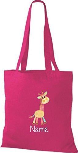 Tote Bag con DOLCE motivi incl. VOSTRA NOME PREFERITO Giraffa - rosa, 38 cm x 42 cm