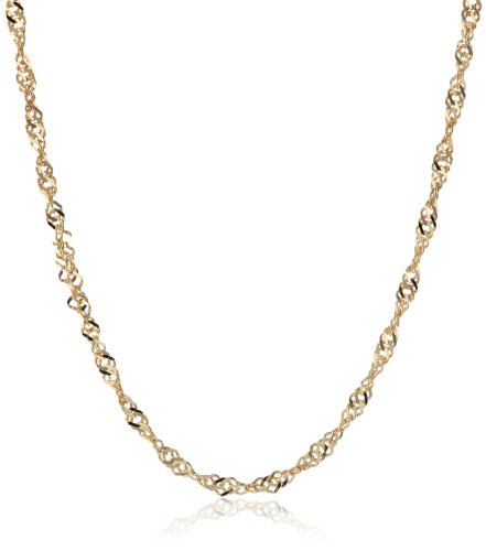 18k Yellow Gold Italian 1.1mm Singapore Chain Necklace, 18