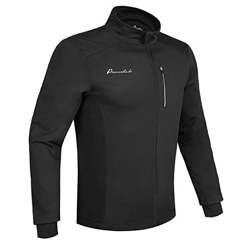 Przewalski Cycling Bike Jackets for Men Winter Thermal Running Jacket Windproof Breathable Reflective Softshell Windbreaker (X-Large,Black) (Best Winter Running Jacket)
