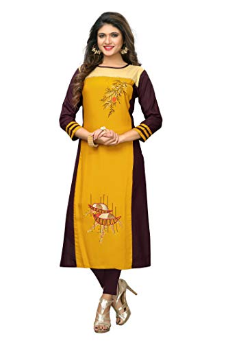 Delisa Womens Multi Designer Women Straight Multi Design Printed Kurti for Women Tunic Top r 3/4 Sleeve Dress 7 (Yellow-208, M-38)