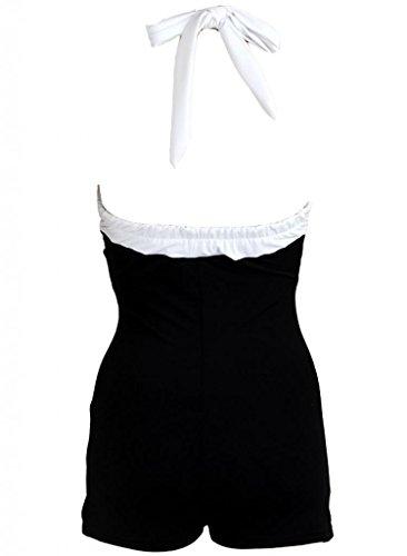 Pinupclothingonline Stripe Black Retro Pin up Women's Swimsuit Swimwear