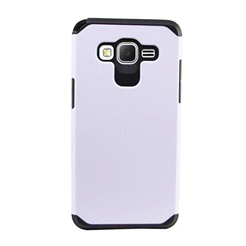Fincibo (TM) Hybrid Dual Layer Hard Silicone Snap On Protector Cover Case For Samsung Galaxy Core Prime G360 Prevail LTE - White/ Black (Boost Mobile Galaxy Core compare prices)