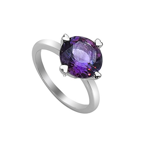 Sterling Silver Transparent Ring (Women's Ring 925 Sterling Silver Genuine Gemstone: Amethyst)
