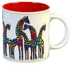 Laurel Burch Giraffe Family Coffee Mug