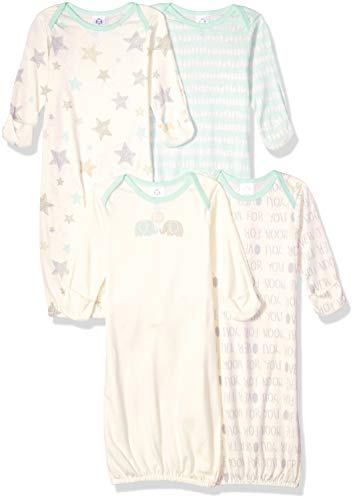 Gerber Baby 4-Pack Gown, Elephants, 0-6 Months ()