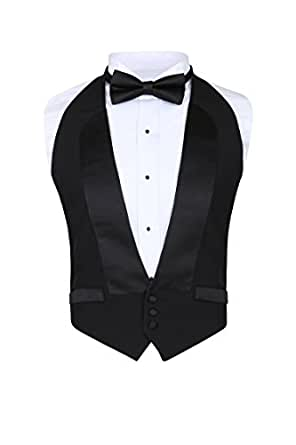 Men's Classic Formal 100% Wool Black Backless Tuxedo Vest Includes Bow Tie (2XLarge (Adjustable)