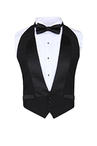 Men's Classic Formal 100% Wool Black Backless Tuxedo Vest Includes Bow Tie (2XLarge (Adjustable) (Shirts Tuxedo Vests)