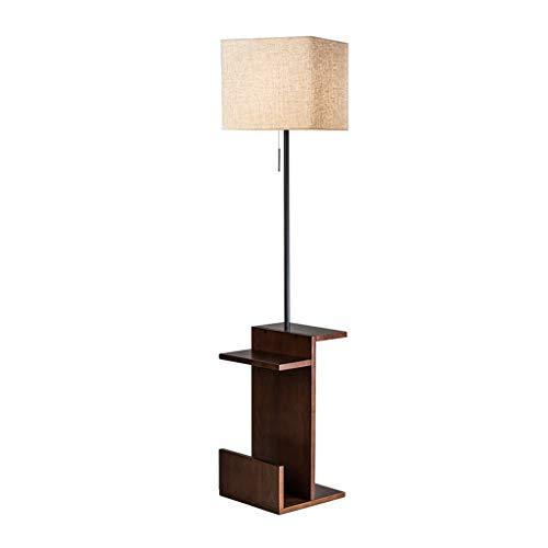 ZH Floor Lamps Floor Lamp Nordic Creative Storage Rack Pull Switch E27 Wooden Living Room Simple Bedroom Bedside Table Floor Lamp (Color : Black Walnut Color+Linen Shade)