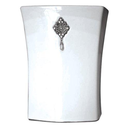 Famous Home Fashions Jewel White Wastebasket (Famous Baskets)