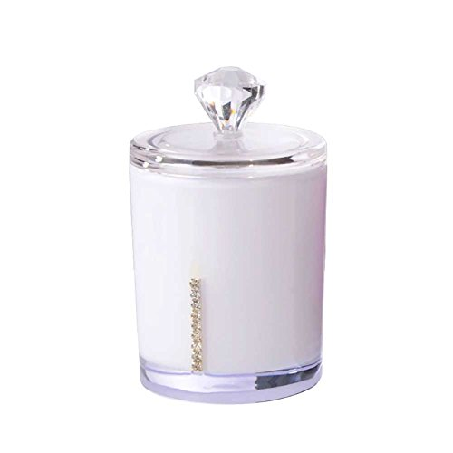 Hosaire Transparent Inlay Diamond Circular Acrylic Cotton Storage Box with Clear Crystal Cover