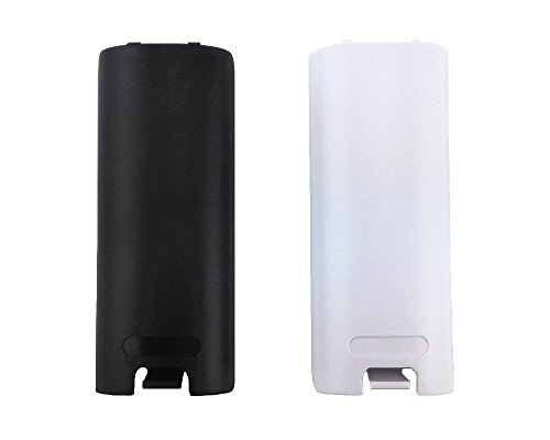yueton 2pcs Black and White Replacement Battery Back Door Cover Shell for Nintendo Wii Remote Controller (Shell Back Cover Plastic)
