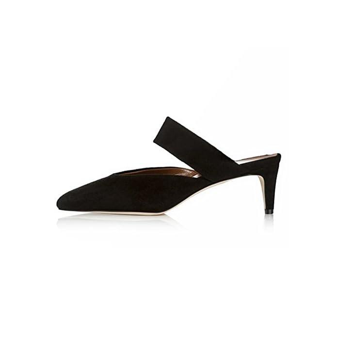 Qidi sandali Di Gomma Poliestere Donna Moda Nero Rosa Tacchi Alti Scarpe Singole colore Nero Dimensioni Eu38 uk5 5