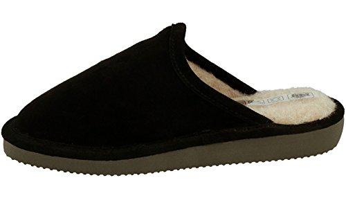 Et Cuir 970 Laine en Pour Femme Pantoufles En Rbj Naturelle Peau Chaussures D'Agneau Noir wqUEWz