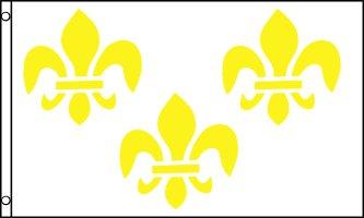 3 FLEUR-DE-LIS WHITE AND GOLD FLAG 3' x 5' - FRENCH ROYAL -
