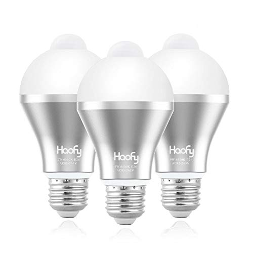 Motion Sensor Light Bulb,Haofy 9W Smart Pir LED Bulbs Auto On/Off Security Lights Outdoor/Indoor Lamp for Stairs Front Door Hallway Patio Yard Garage Basement (E26/E27, 600lumen,Cool White,3 Pack)