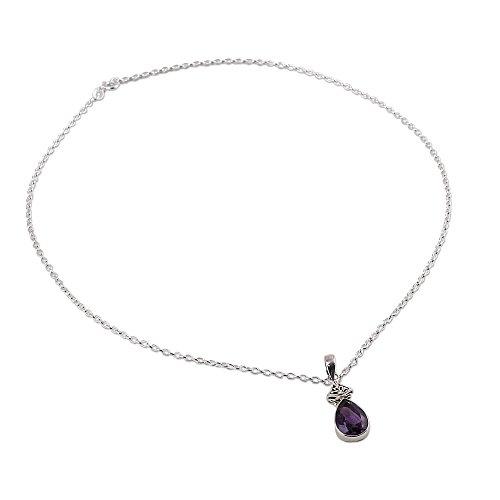 (NOVICA Amethyst .925 Sterling Silver Pendant Necklace, 18