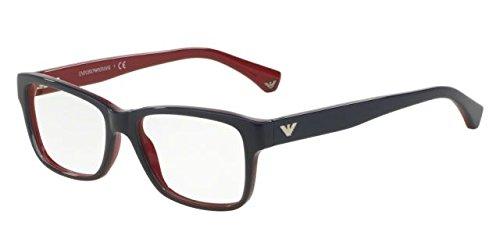 Emporio Armani Glasses Frames - Emporio Armani EA 3051 Women's Eyeglasses Blue Gradient Red On Red 53