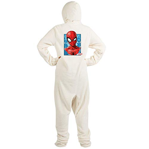 CafePress Spider Man Face Novelty Footed Pajamas, Funny Adult One-Piece PJ Sleepwear Creme]()