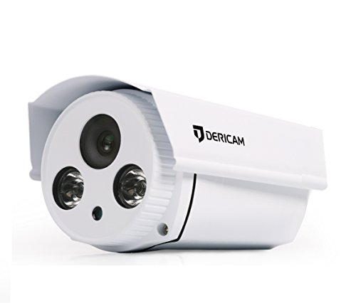 Dericam HD 720P POE (Power Over Ethernet) Outdoor Security Camera, Bullet IP Camera, Not Support WiFi, B1E White