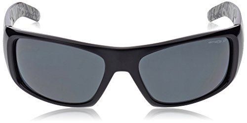 Arnette Mens AN4182 Hot Shot Rectangular Wrap Sunglasses, Gloss Black/Grey Polarized, 62 mm