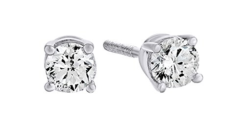 - Christmas Sale 10K Solid White Gold Natural Diamond Solitaire Stud Earrings With Screw Back (0.33 Ct)