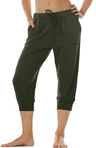 icyzone Women's French Terry Jogger Lounge Sweatpants - Active Capri Pants for Women (Army, S)