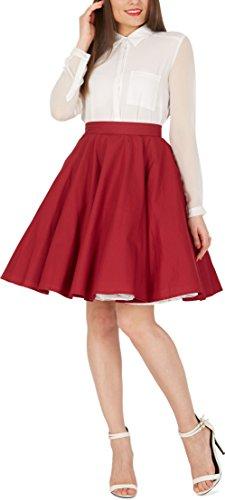 BlackButterfly Vintage Full Circle 1950's Skirt (Burgundy, US 10) (Red Full Circle)