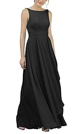 Jonlyc Women's A-Line Sleeveless Long Chiffon Bridesmaid Dress Evening Gowns Black 18W