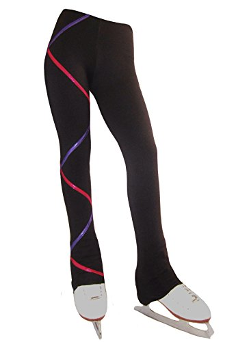 Ice Fire Criss Cross Power Fleece Figure Skating Pants (Purple/Fuchsia, Adult X-Small) ()