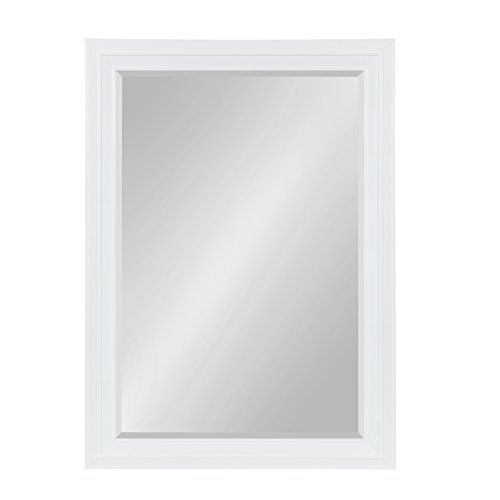 Kate and Laurel Whitley Framed Wall Mirror, 29.5x41.5, White (Satin White Mirror)