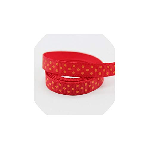 Largest Collection 3/8 Inch (9Mm /10Mm /1Cm) 30Colors Polka Dots Printed Grosgrain Ribbons Eco-Friendly for DIY Girls Hairbows,Hot Red-Tangerine
